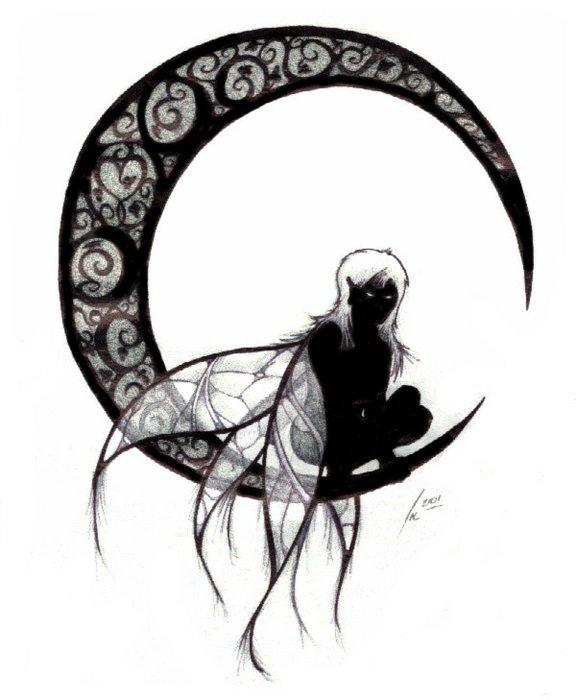 Mooi elfje op de maan