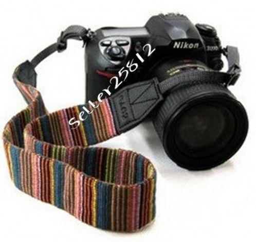 Gekleurde streepjes camera strap