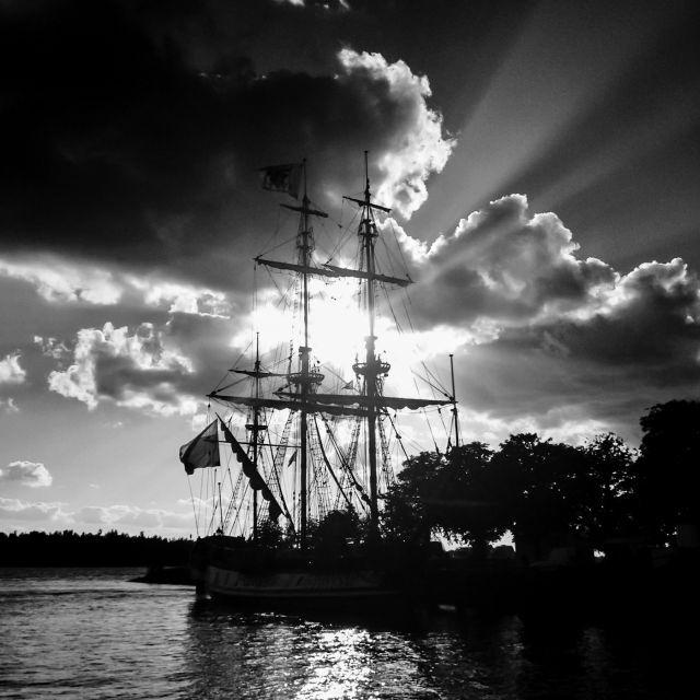 Schip in zwart-wit