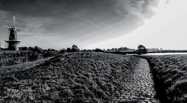 Molen de Hoop in zwart-wit