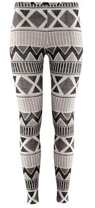 zwart-wit legging met aztek print