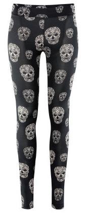 zwarte legging met skull print