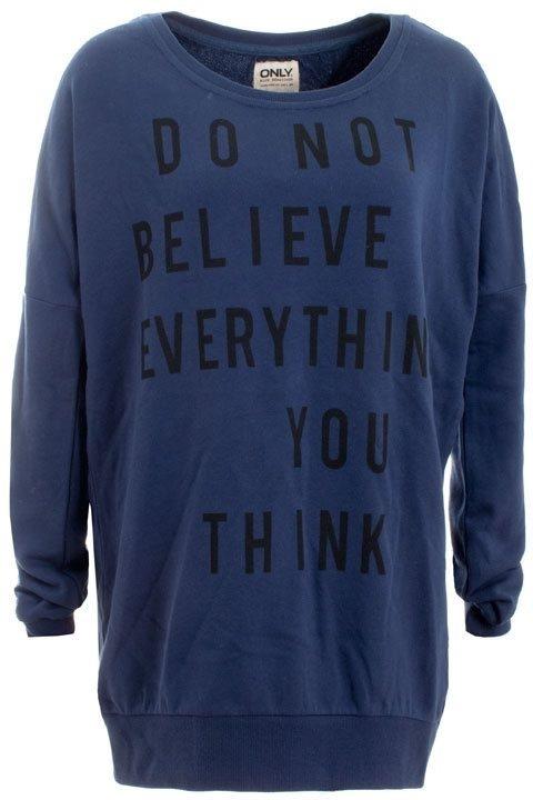 Blauwe sweater met tekstprint