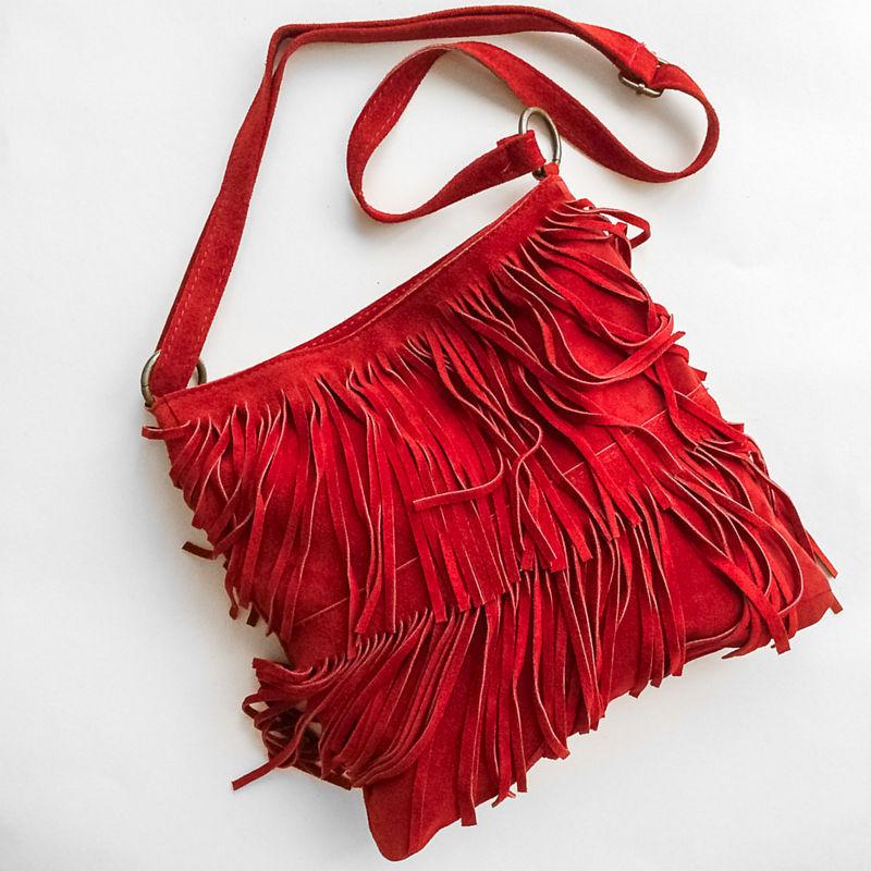 Rode tas met franjes