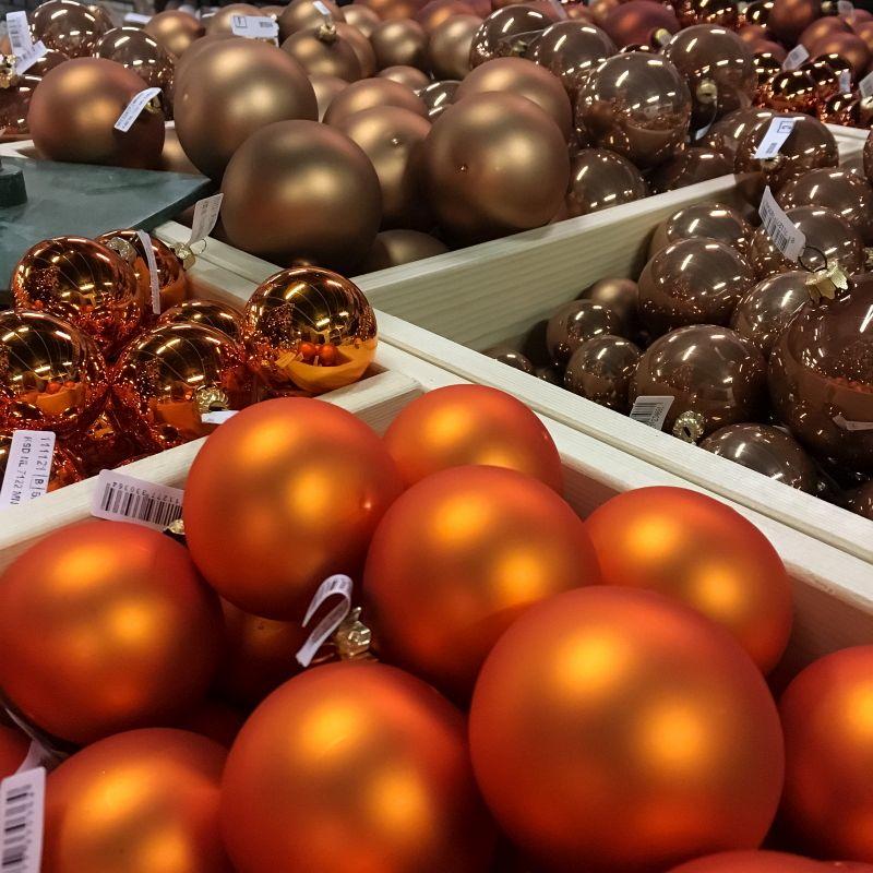 Oranje kerstballen