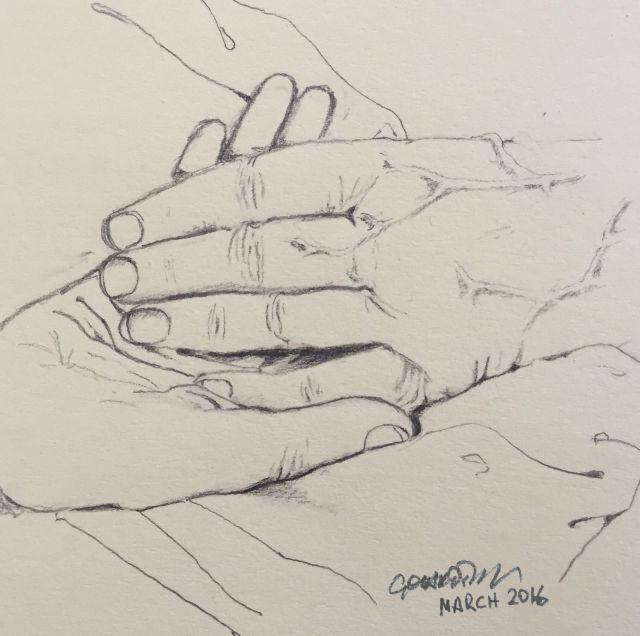 Tekening van de handen van oma en mij