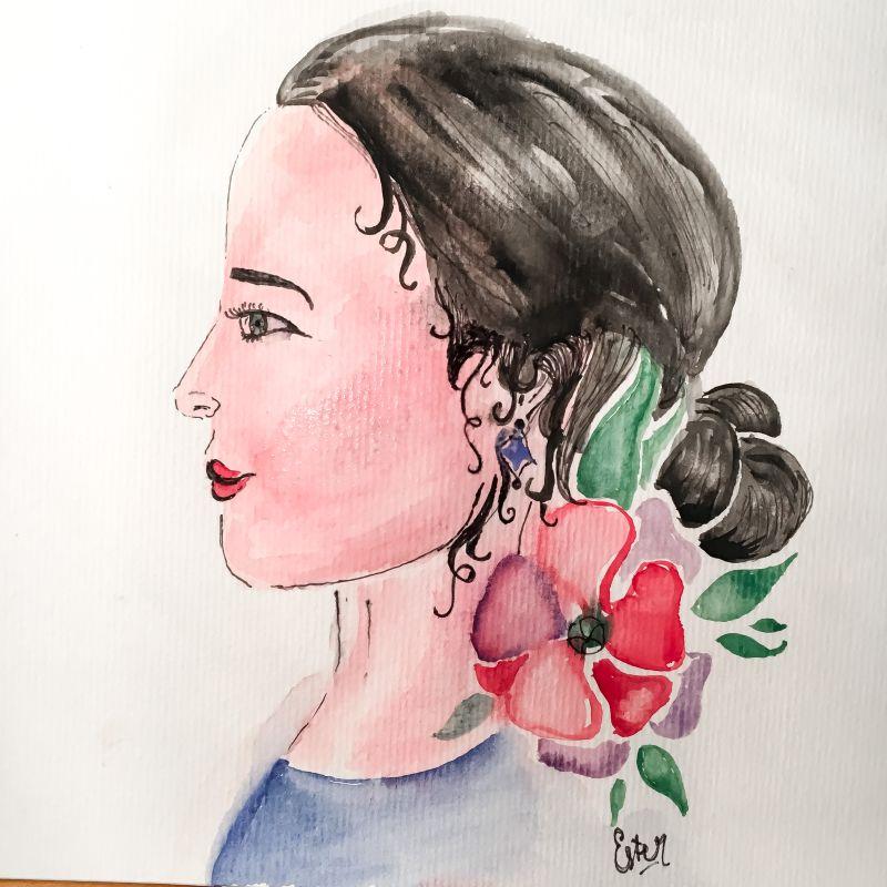 Tekening van een dame met een bloem in het haar