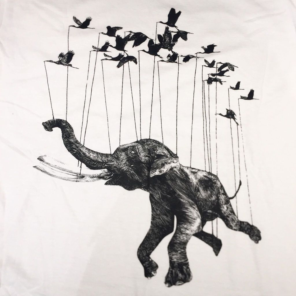 Print van olifant met vogels