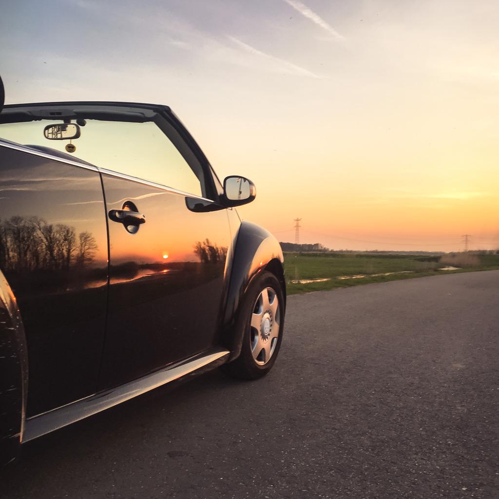 Beetle in de ondergaande zon