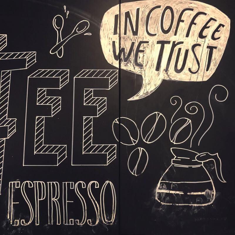 Koffie-krijtbord bij IKEA