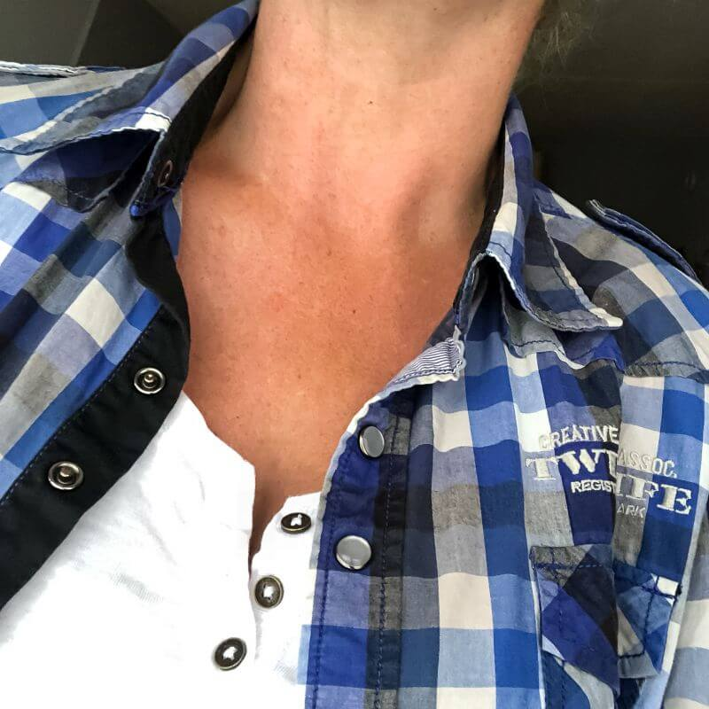 Blauw geruite Twinlife blouse
