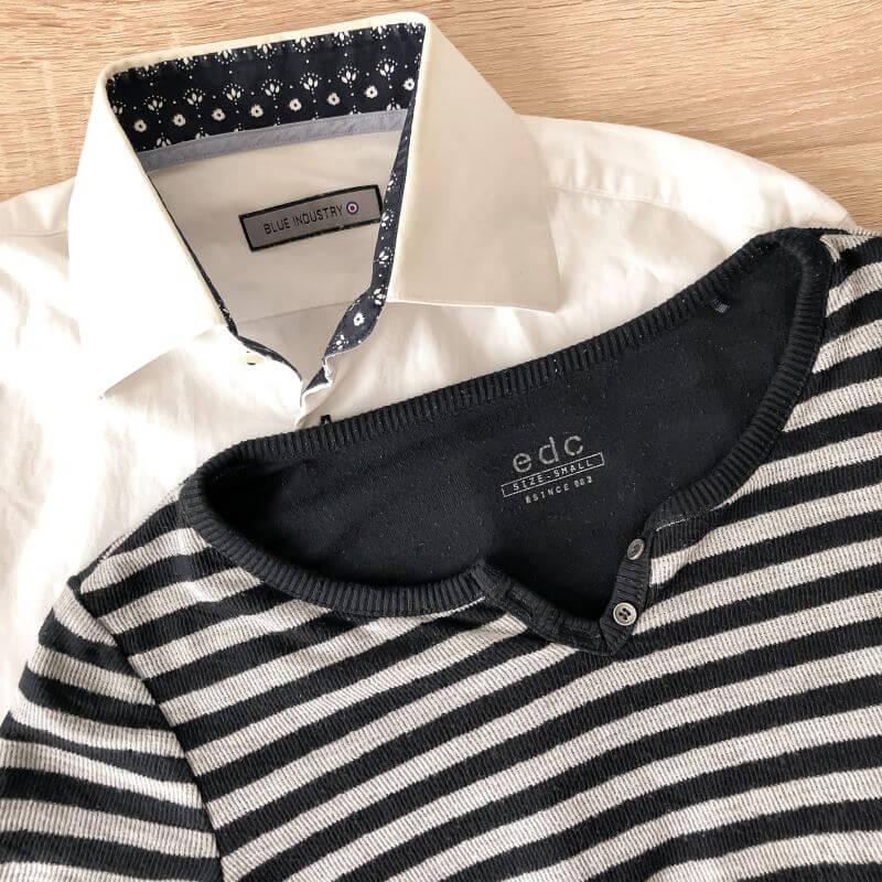 Witte blouse & gestreept truitje
