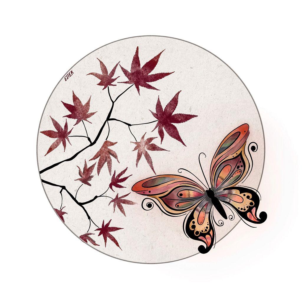 Vlinder / Japanse esdoorn illustratie