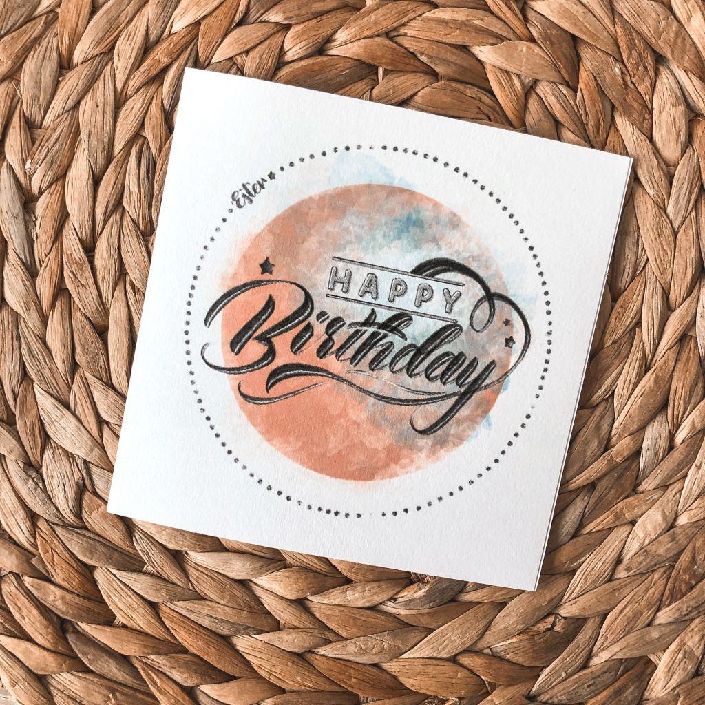 Verjaardags-illustratie geprint