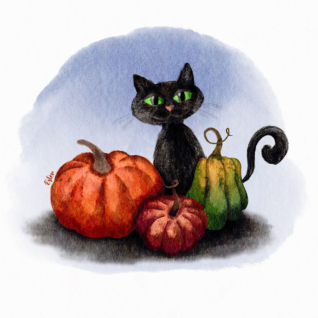 Kat met pompoenen