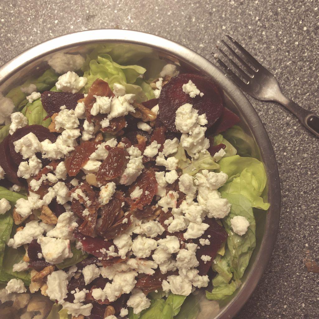 Bieten/geitenkaas salade