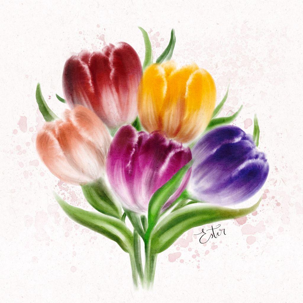 Een bosje tulpen